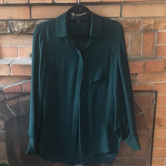 5cd5c75968e0da J. Crew Tops | Emerald Green Silk Jcrew Blouse | Poshmark